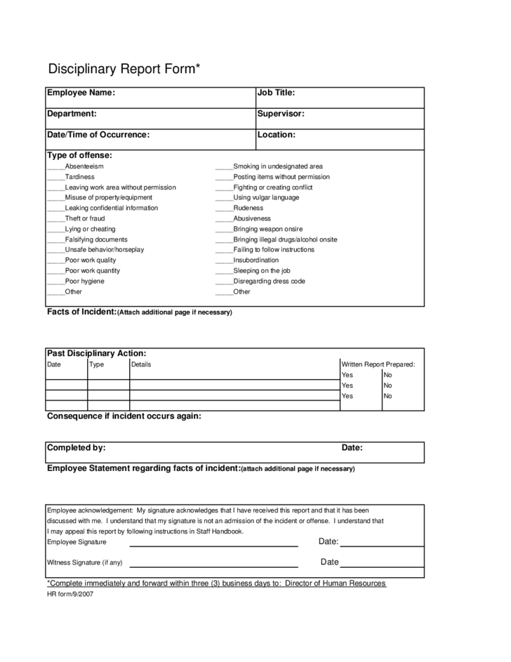 Employee Disciplinary Write Up Form | Sample Resume National Sales ...