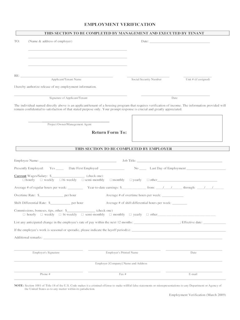 Free Printable Bill Of Sale Form Word Template Employment Verification Form 4 Free Templates In Pdf