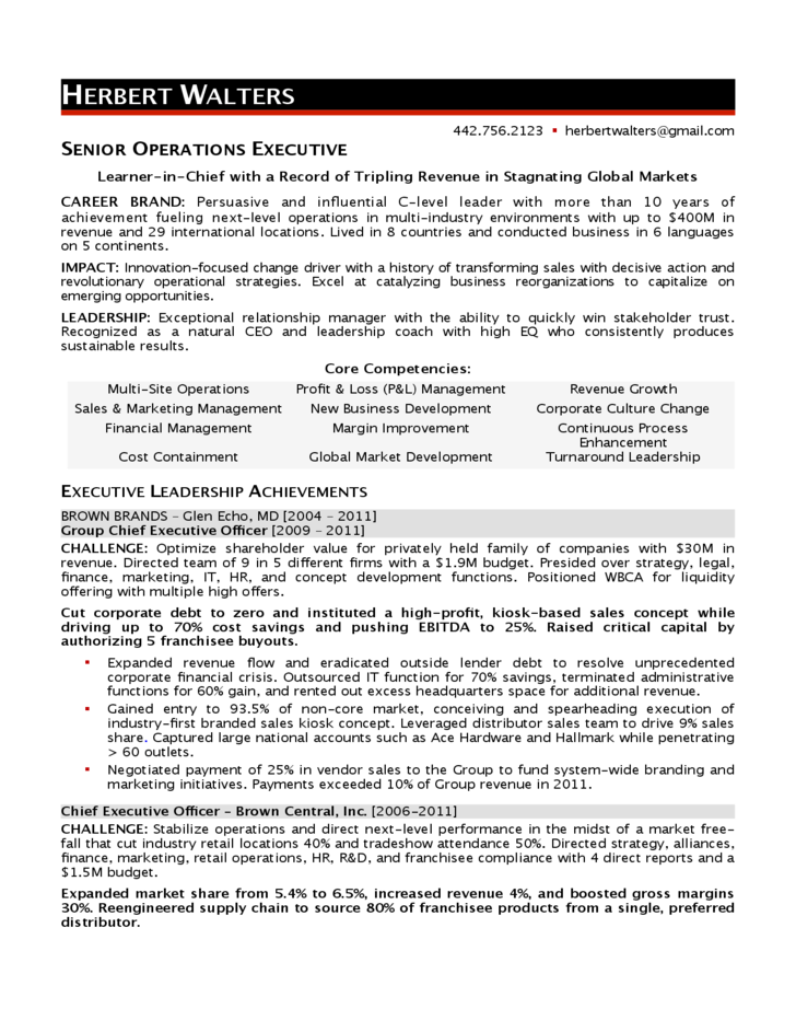 resume templates for operations executive