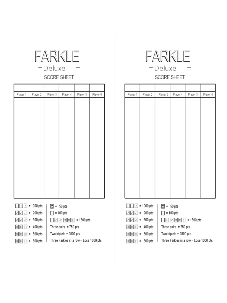 photograph about Printable Farkle Score Sheets identify Farkle Scoring Chart - Resume Illustrations Resume Template