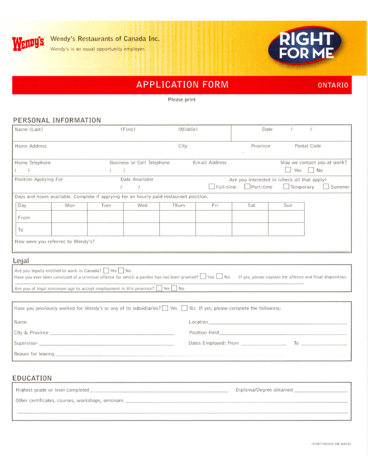 free job application form template canada free document resume samples