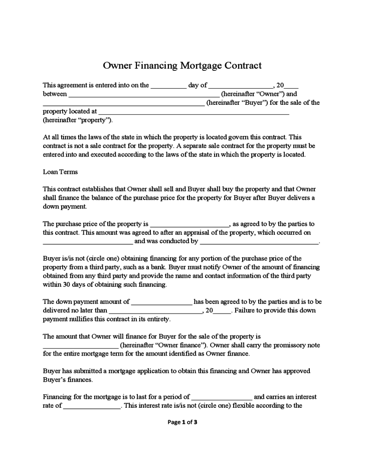 Home Construction Contract Template – Mortgage Contract Template