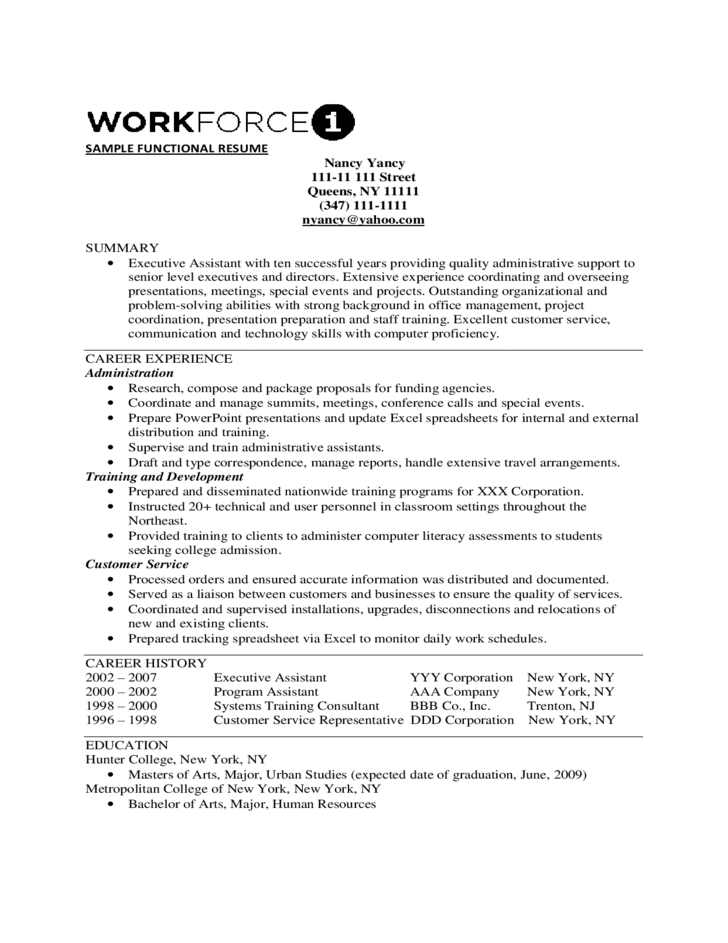 functional resume sample executive assistant