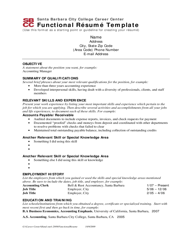 what is a functional summary on a resume example