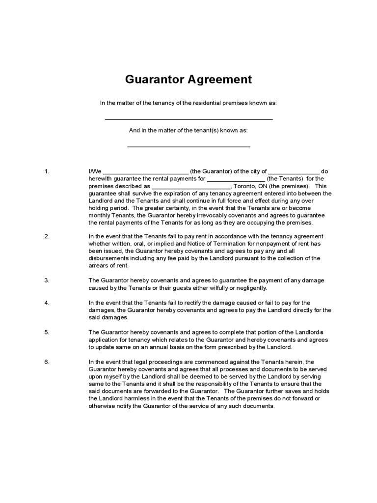 Texas Commercial Lease Agreement Free Legal Form Guaranty Agreement Template Personal Guarantee Form