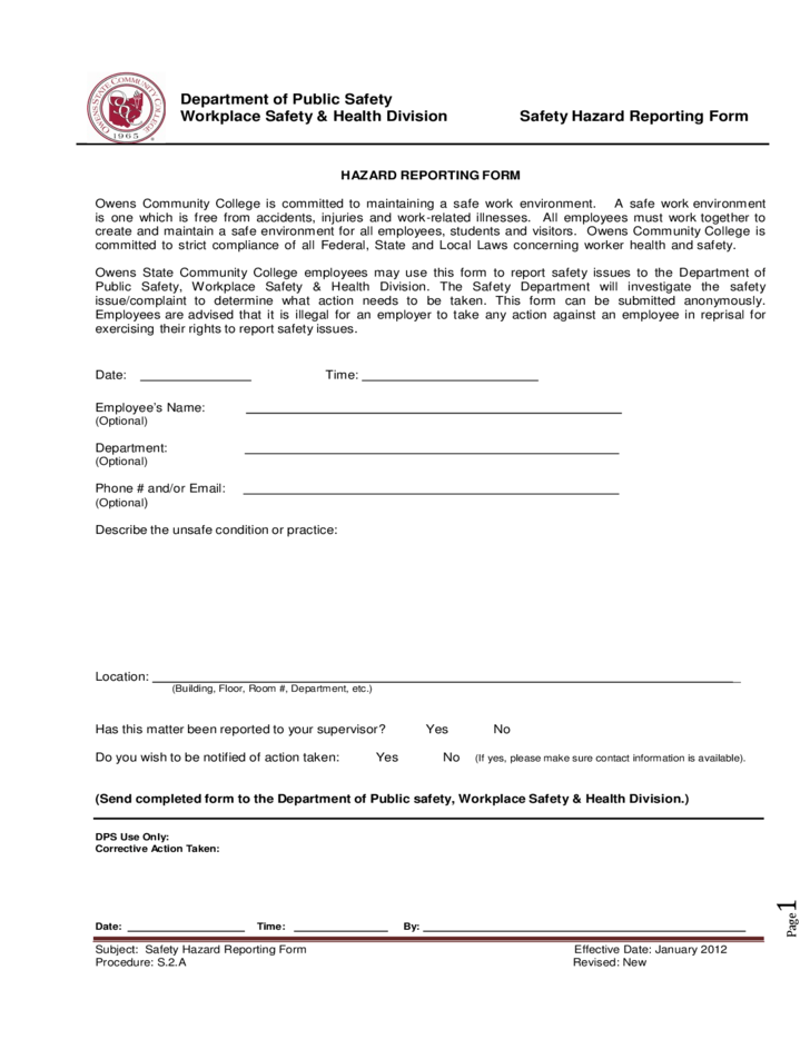 Hazard Report Form Template – Report Form Template