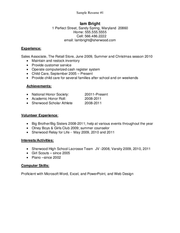 Help making resume high school graduate