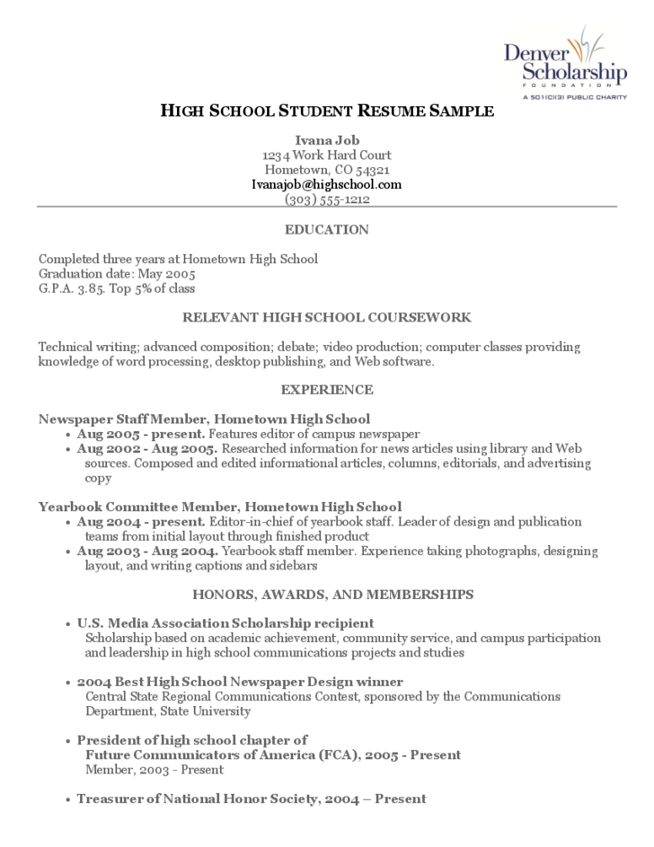 sample resume for campus job