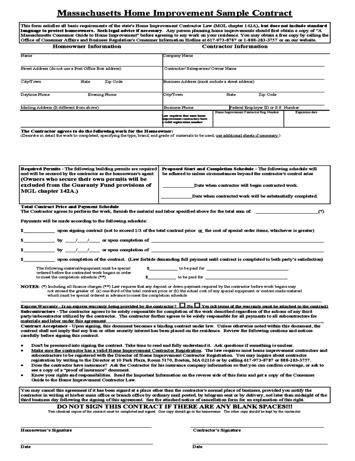 Renovation Contract Template Canada Costumepartyrun - Home improvement contract template