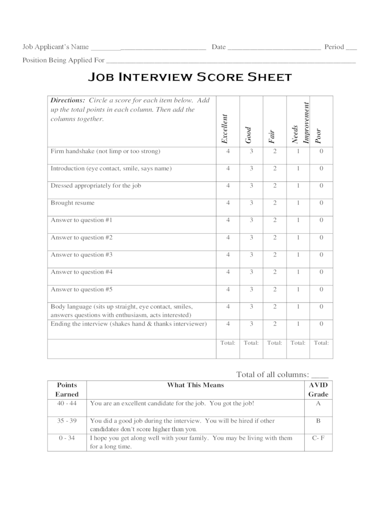 10 Minute Resume Cheat Sheet Interview Score Sheet 5 Free Templates In Pdf Word