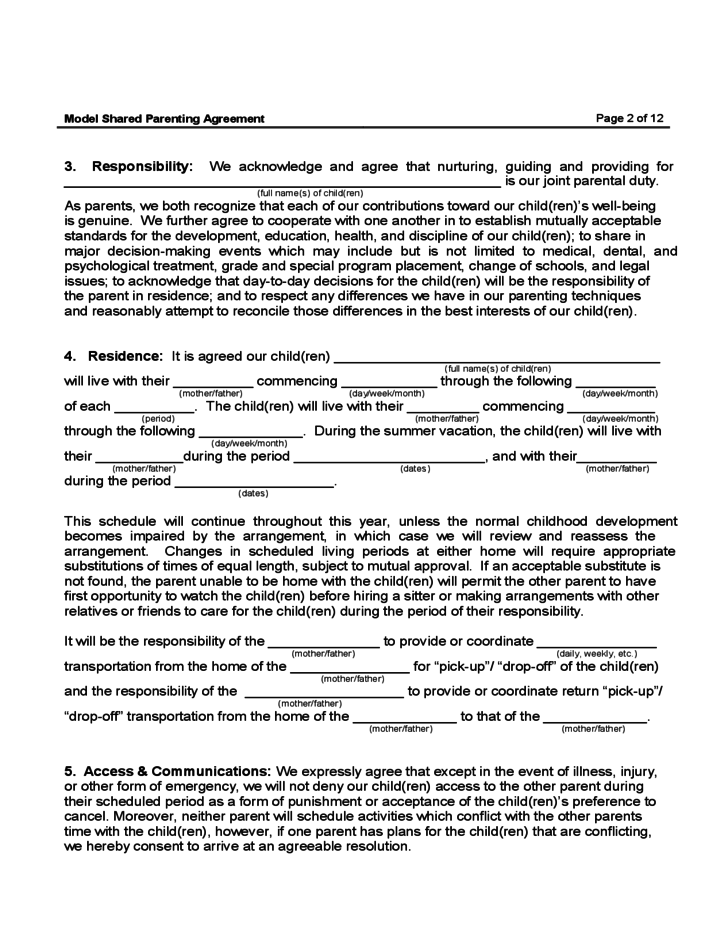 Awarding Contract Letter Template Sample Form Shared Parenting Agreement Free Download