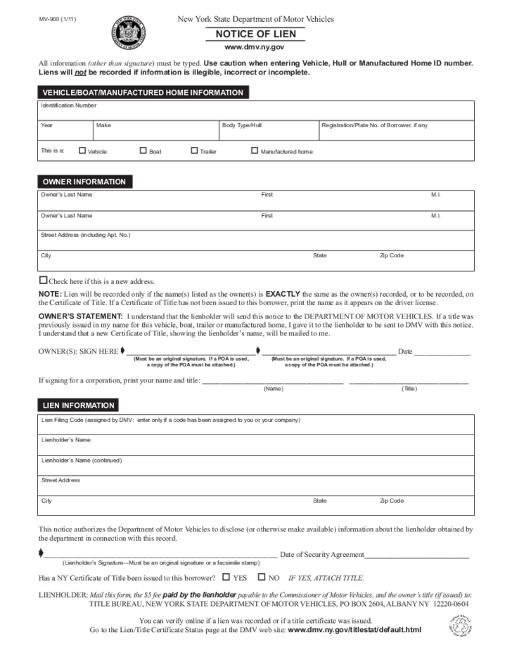 Notice Of Lien New York State Department Of Motor Vehicles Mv 900 Notice Of Lien Form New York Free Download