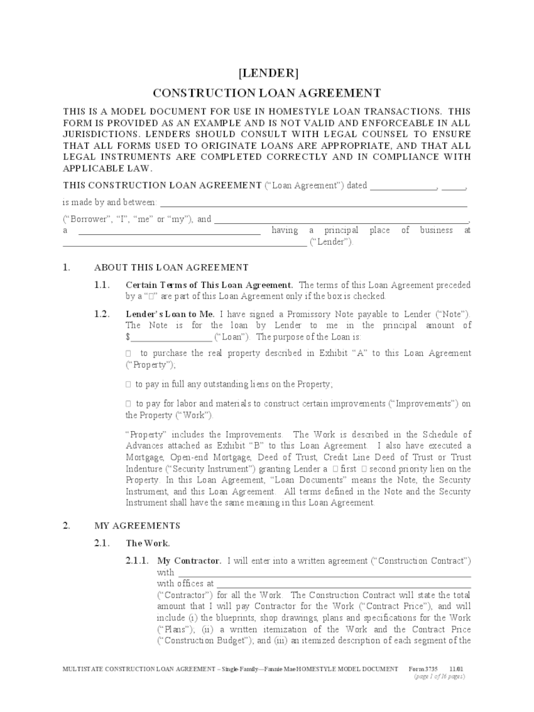 Doc468605 Loan Agreement Template Word 5 Loan Agreement – Construction Loan Agreement