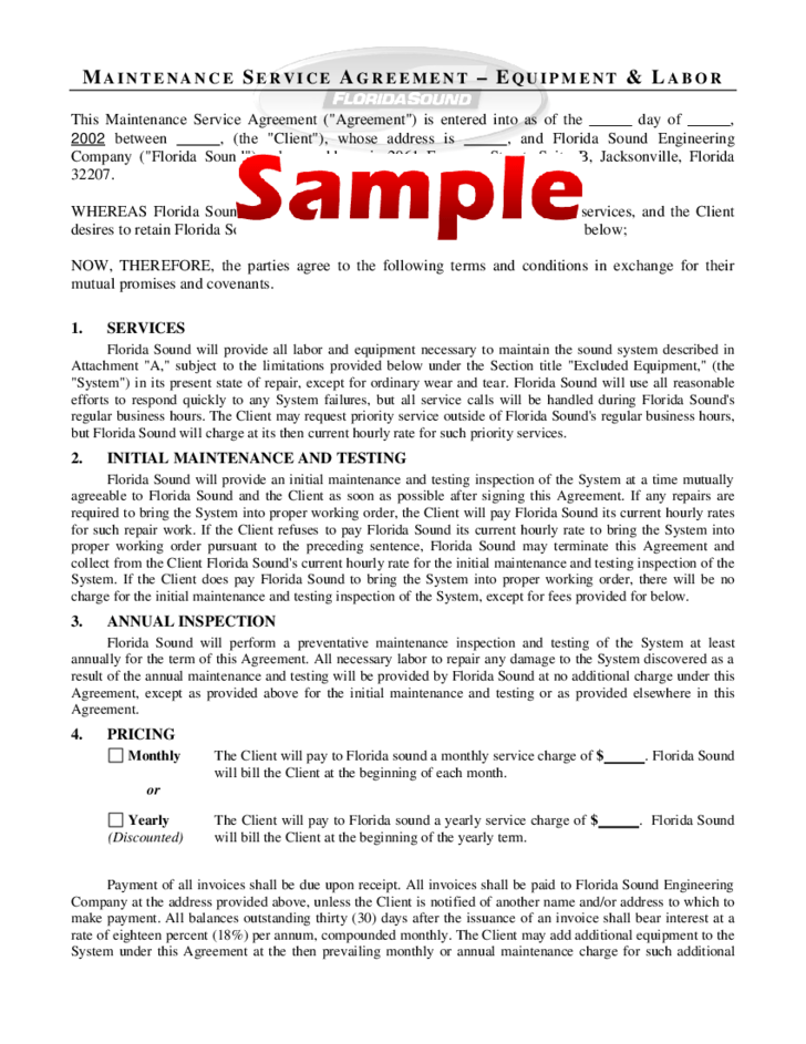 Get Some Guidelines For What To Include In A Resume Maintenance Service Agreement Form Sample Free Download