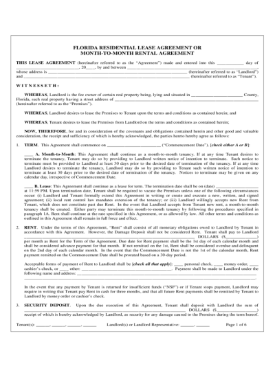 Florida Rent and Lease Template - Free Templates in PDF, Word, Excel to Print
