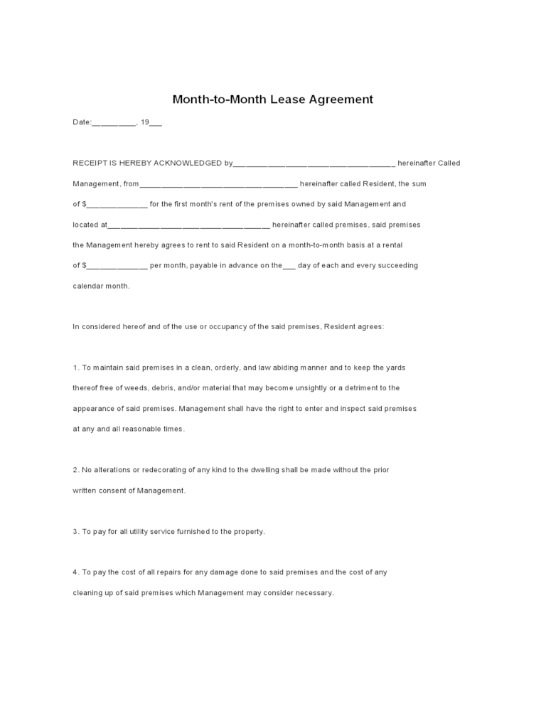 Resume Format For Fresher Download Pdf Month To Month Rental Agreement Form 86 Free Templates