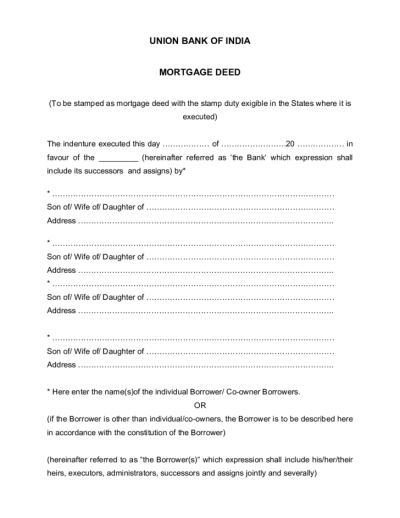 Template of Mortgage Deed Free Download