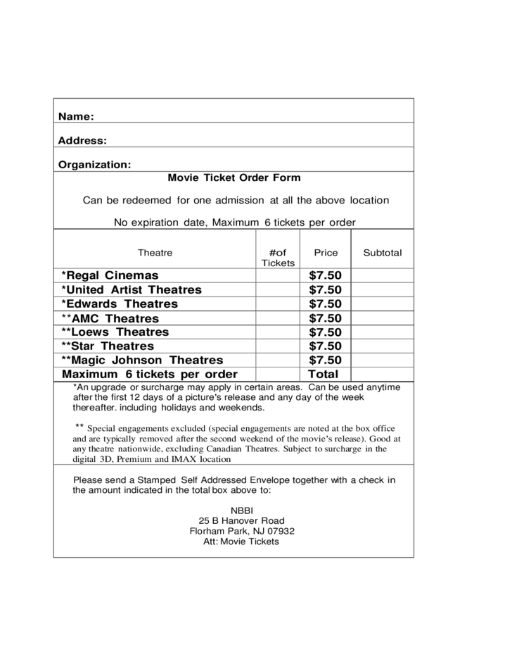 Ticket Order Form Template – Ticket Order Form Template
