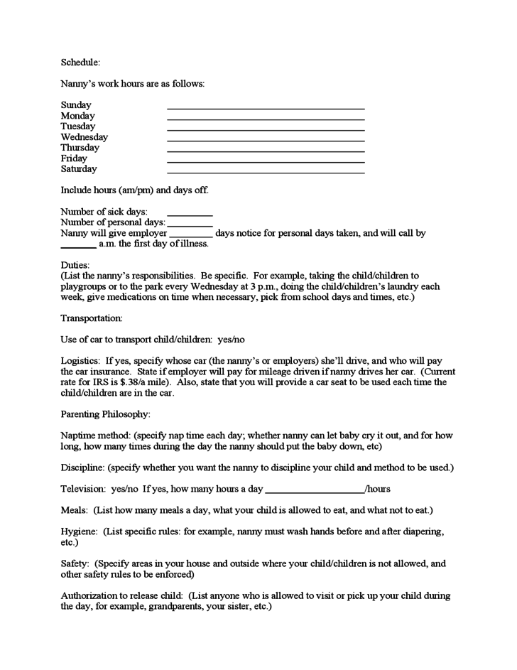 Nanny Work Agreement Form – Nanny Contracts