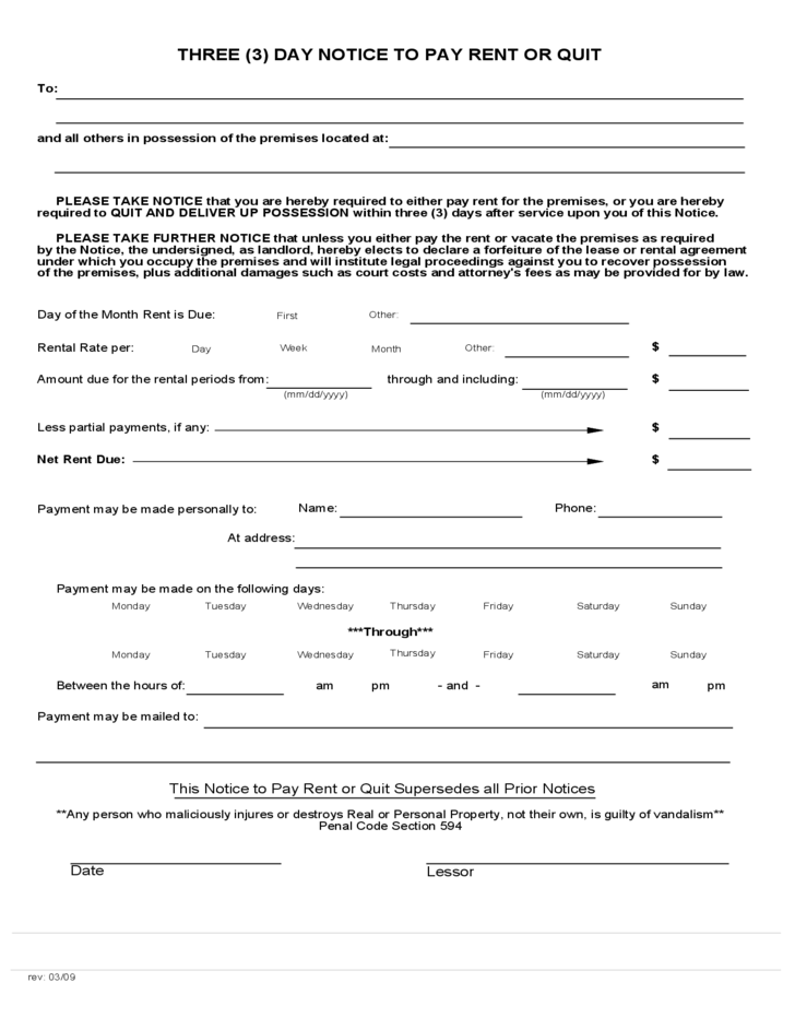 Notice to pay or quit template costumepartyrun california 3 day notice to pay rent or quit free download saveenlarge altavistaventures Images