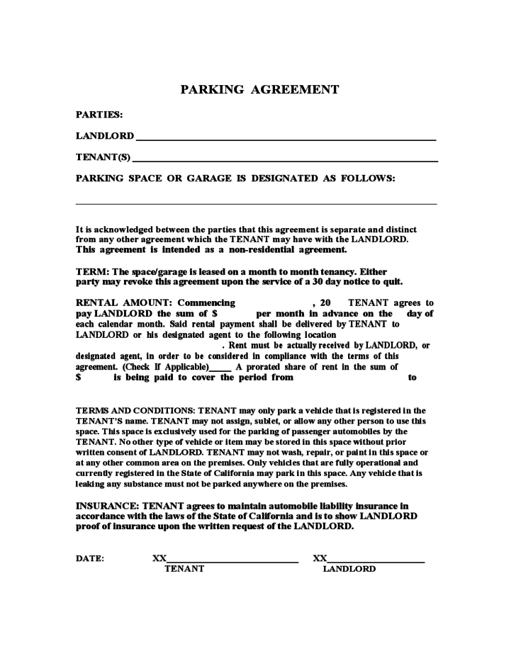 Lease Agreement Template For Parking Space Resume Pdf Download