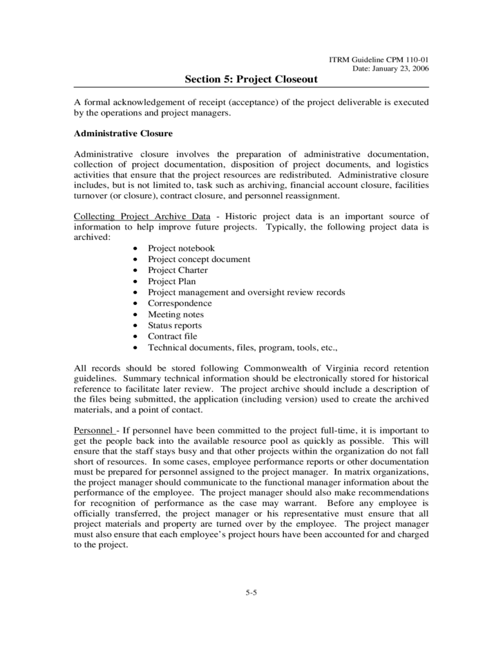 Contract Closeout Letter Sample | Resume Cover Letter Examples