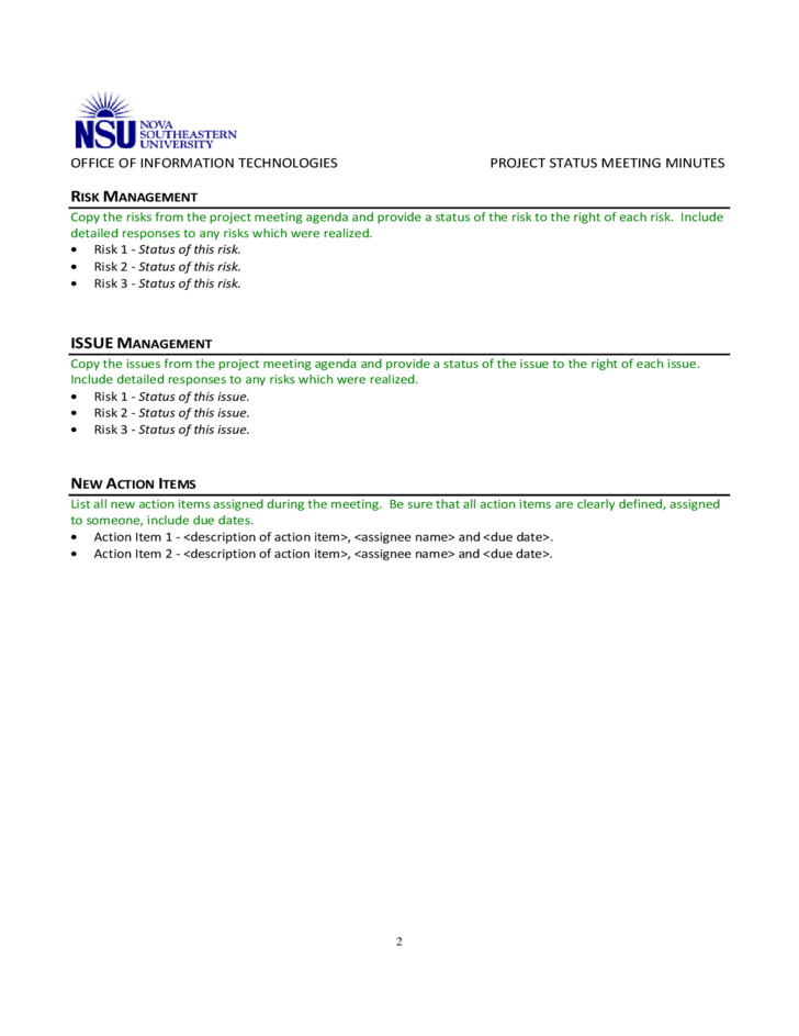 project status meeting template