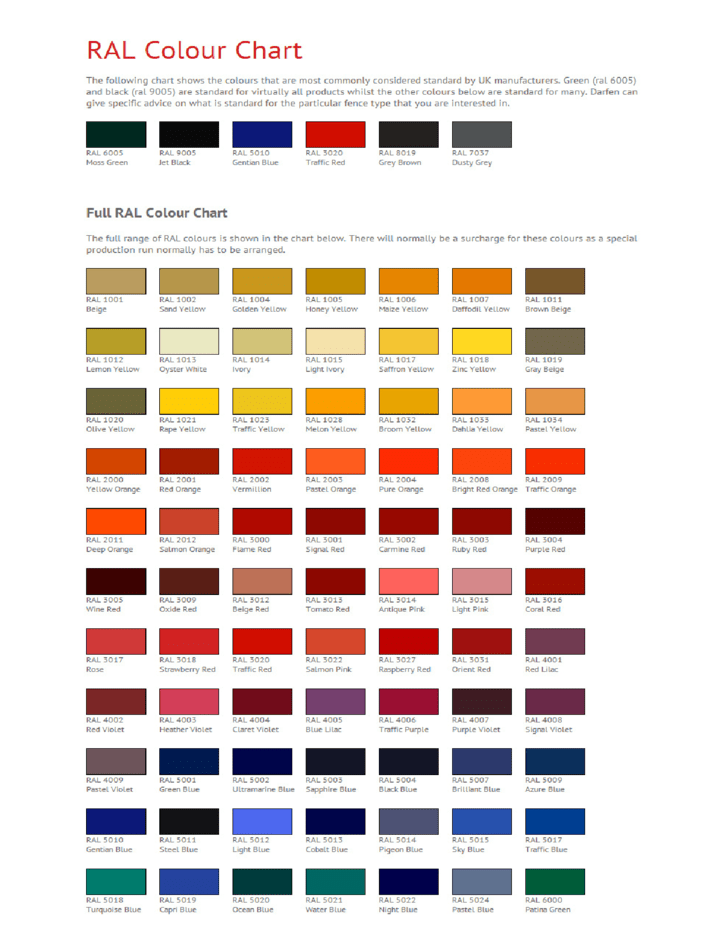 Ral Color Chart | Full Ral Color Chart Related Keywords