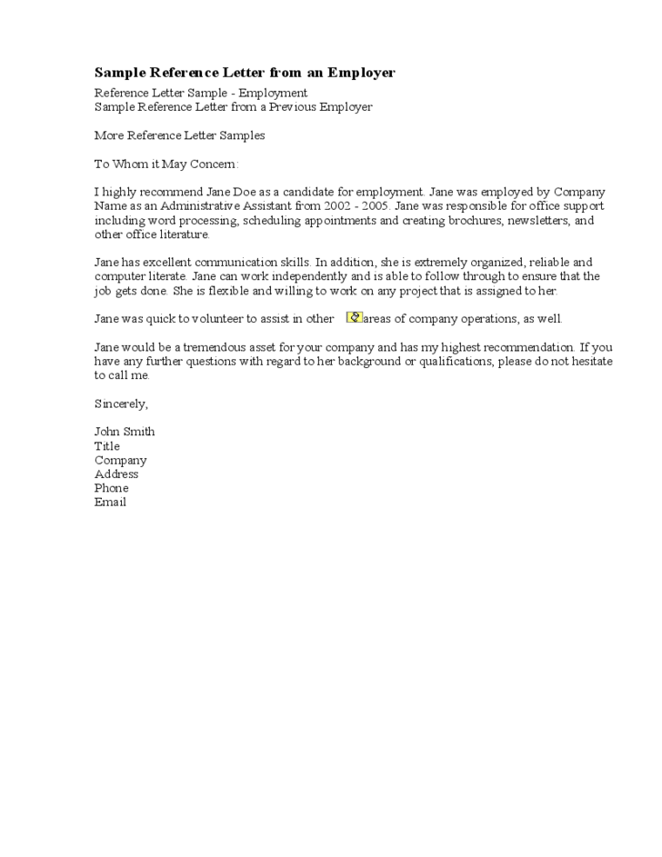 recommendation letter samples from employer