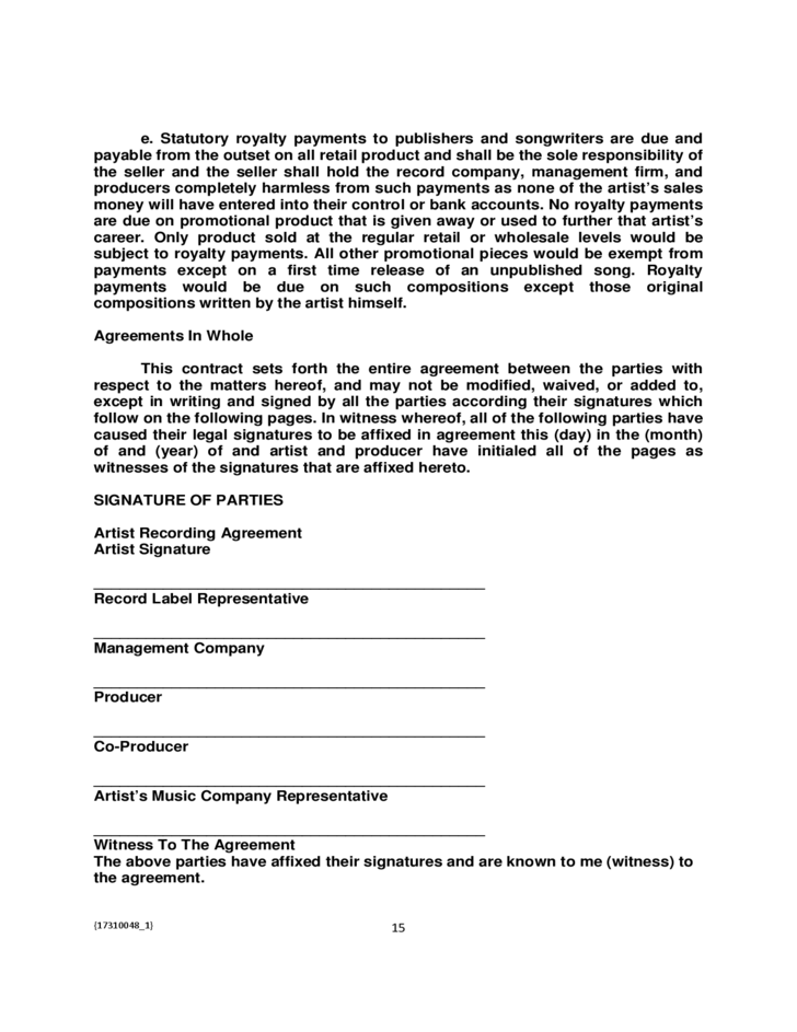 Funky Recording Contract Template Embellishment - Administrative ...