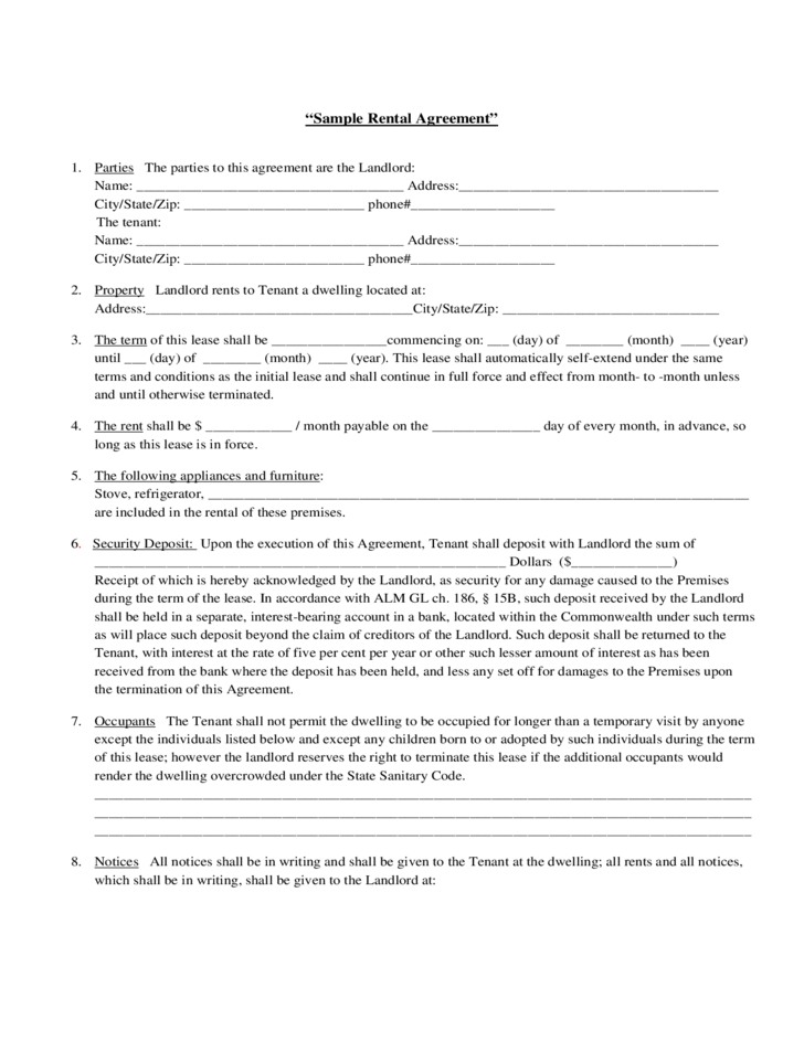 Rental Agreement Contract Alberta – Short Term Rental Contract Form