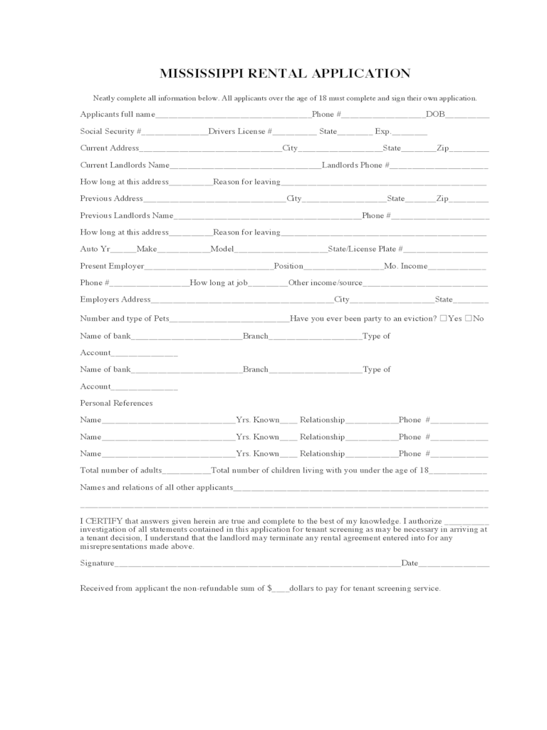 rental application document