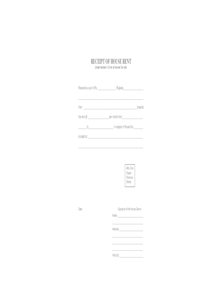 house rent receipt format india – House Rent Format
