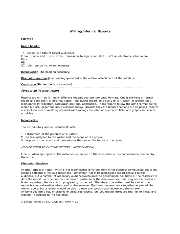 Resume Outline Worksheet Ctdolstatectus Informal Report Writing Format Free Download