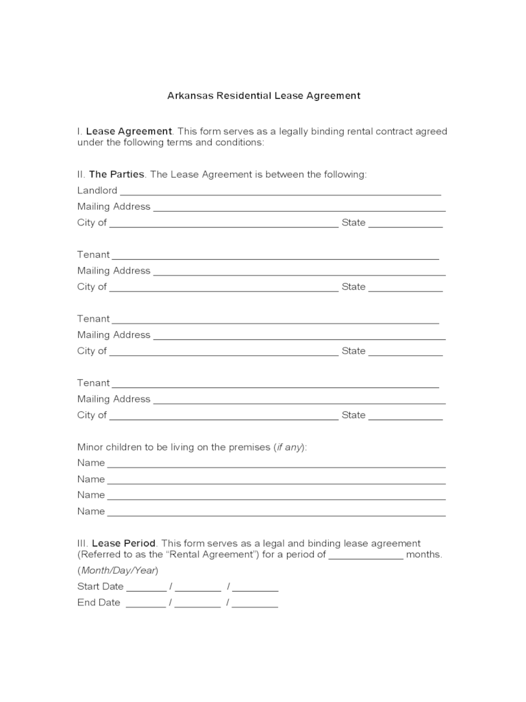 residential lease agreement template free