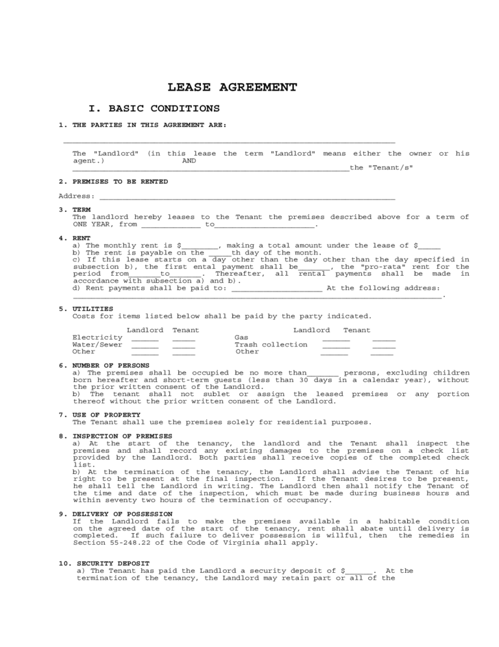 Basic Rental Agreement Or Residential Lease Virginia – Residential Lease