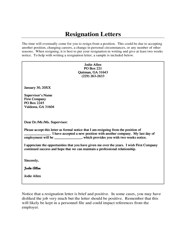 resignation letter to employer