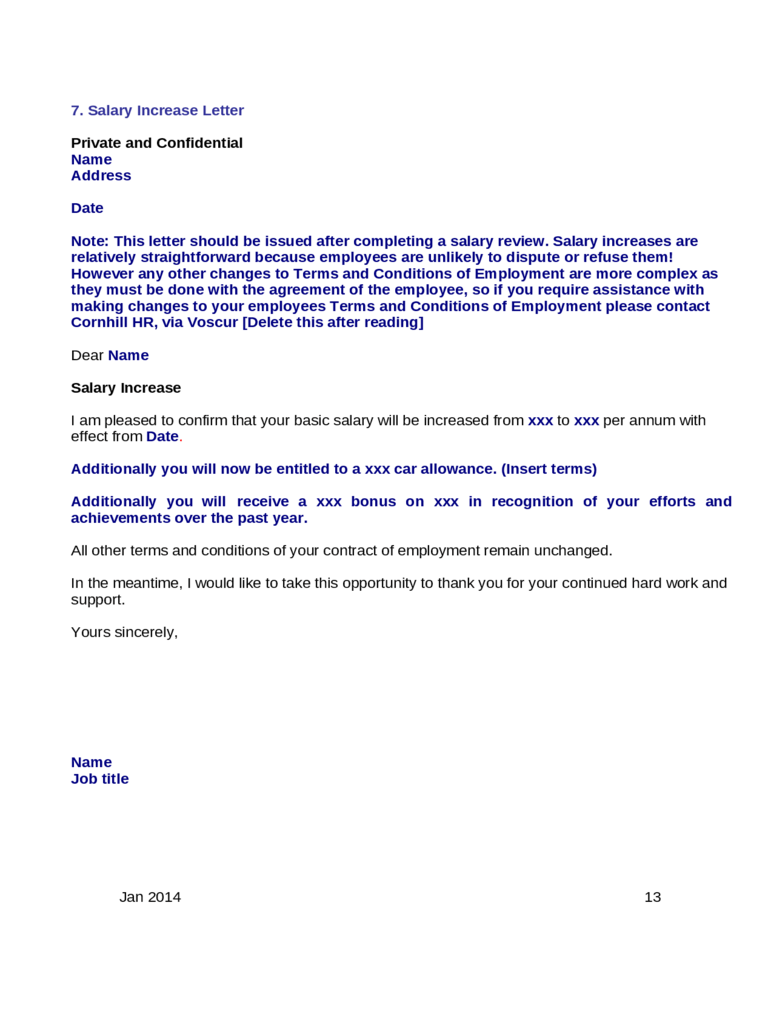 Raise increase letter cbshow salary increase letter template from employer to employee ccuart Gallery