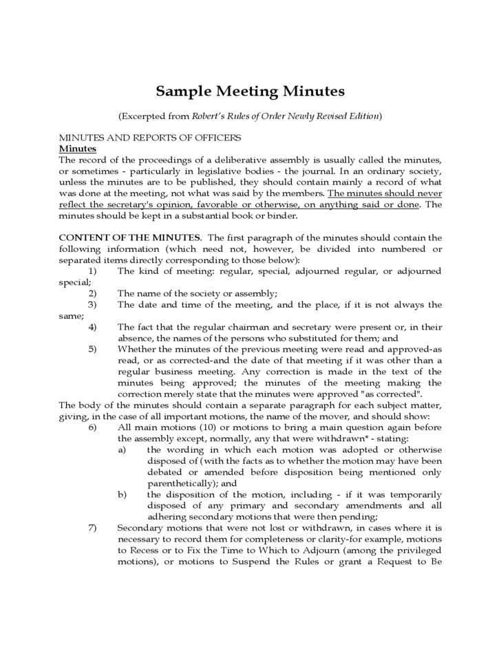 robert s rules of order minutes examples