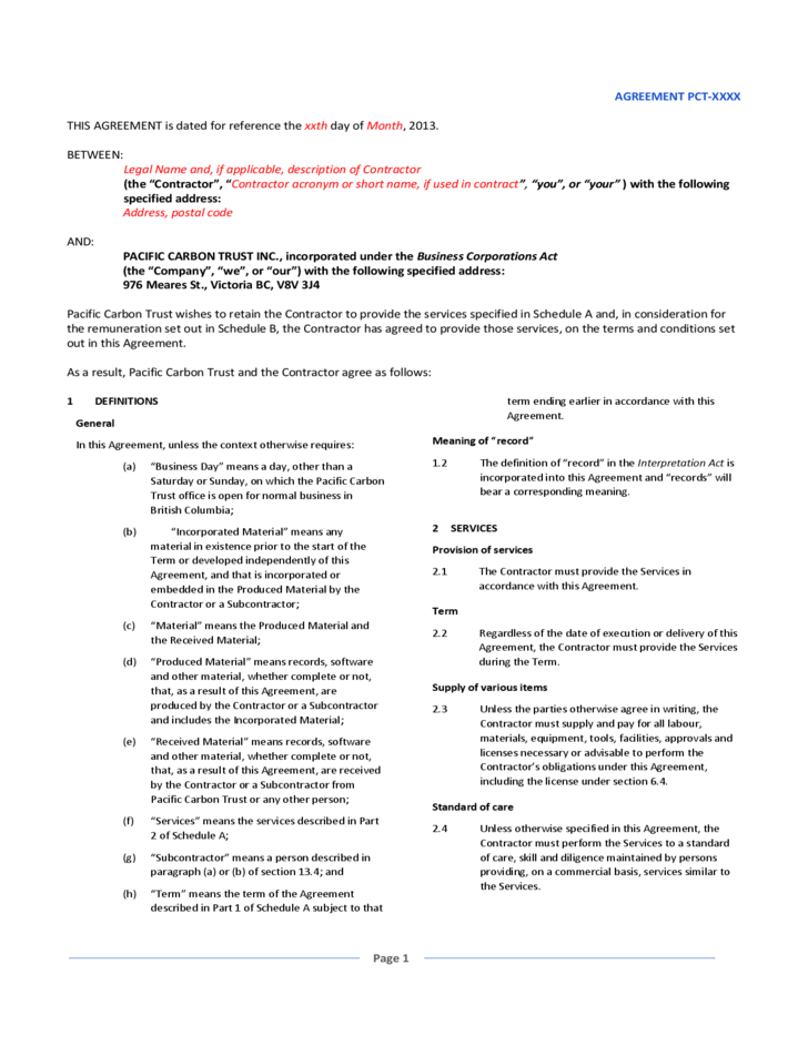 General Service Agreement Template Free - Costumepartyrun