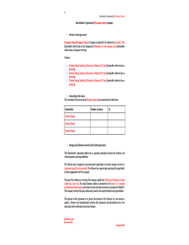 Simple Shareholder Agreement Template Shareholders Agreement