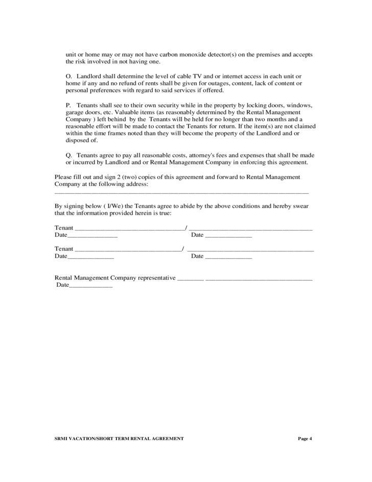 Alberta Rental Agreement Doc – Short Term Rental Contract Form