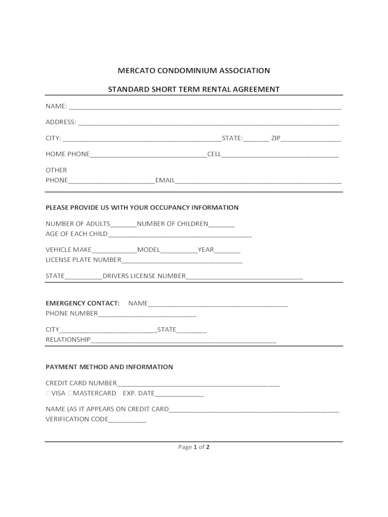 Sample Rental Contract Holiday Home – Short Term Rental Contract Form