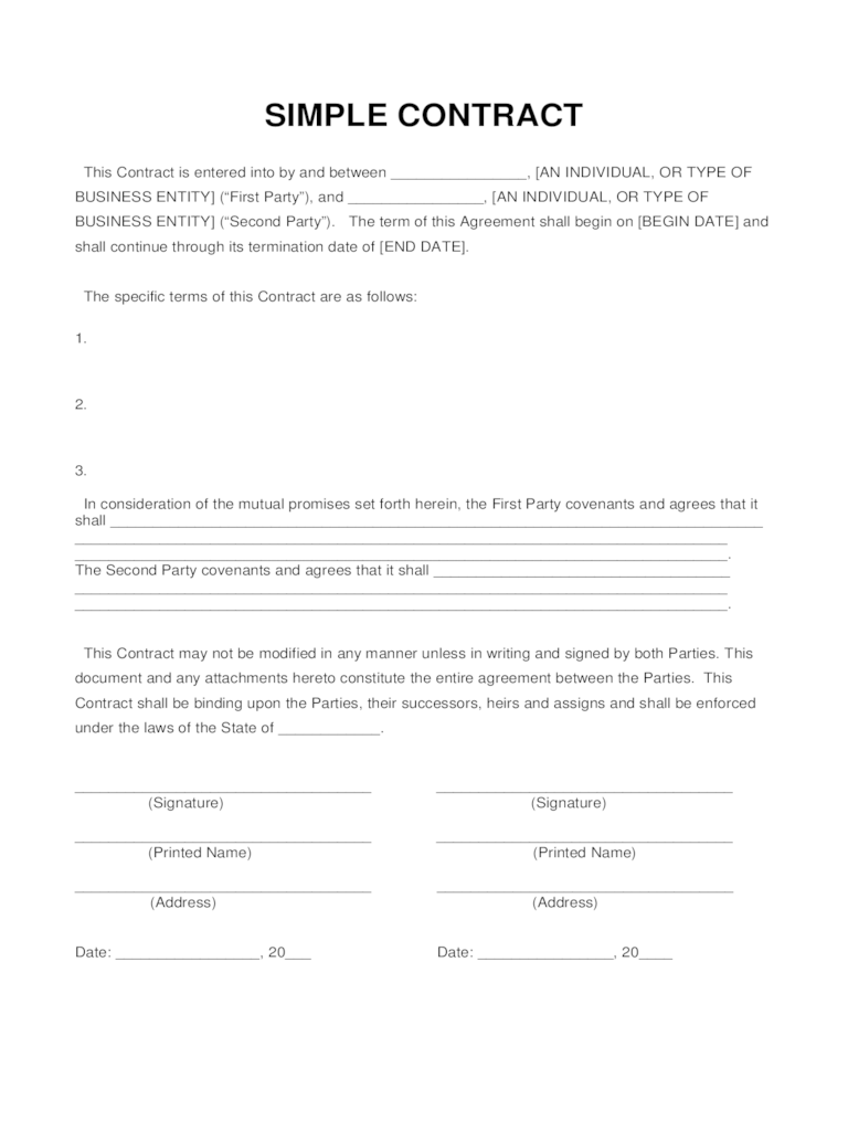 Free Employment Termination Letter Lawdepot Simple Contract Template 6 Free Templates In Pdf Word