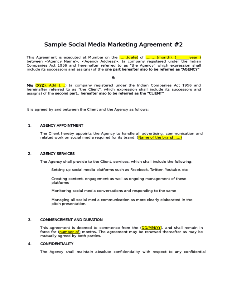 social media marketing contract template - pacq.co