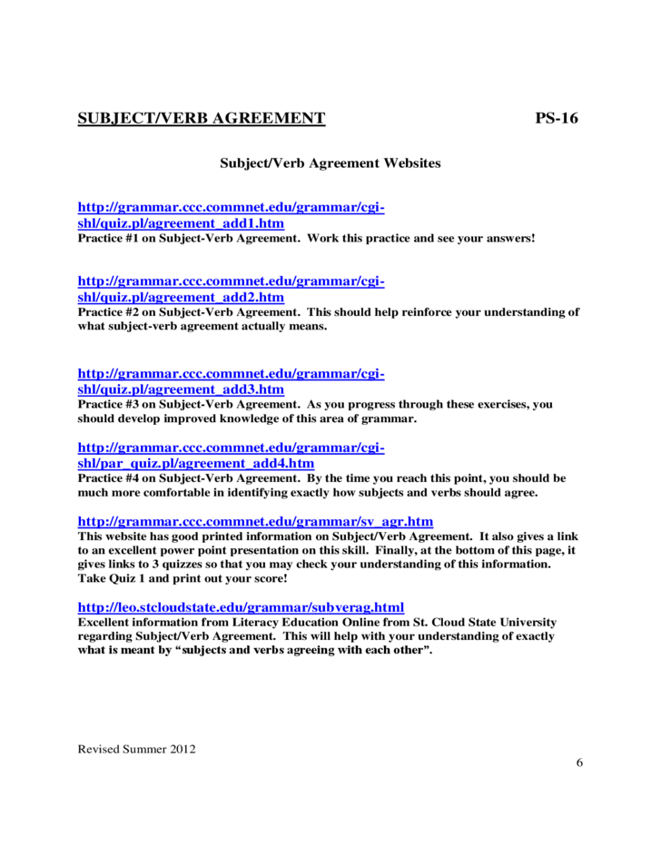 Subject Verb Agreement Quiz Pdf With Answers – Pronoun Antecedent Agreement Worksheet with Answers