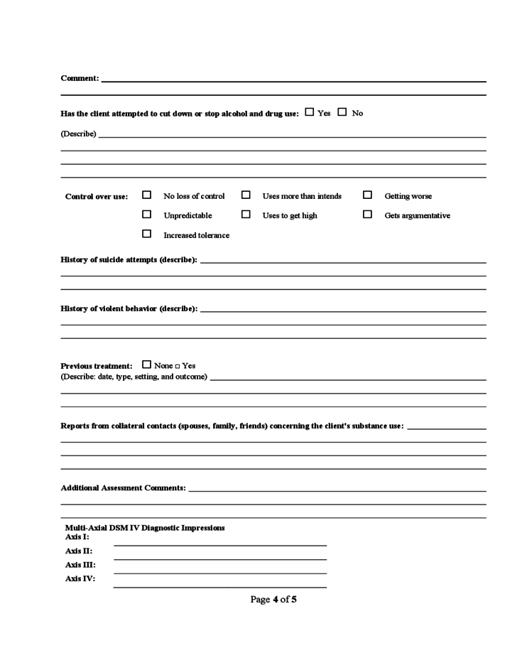 Home Smartfutures Substance Abuse Assessment Form Free Download