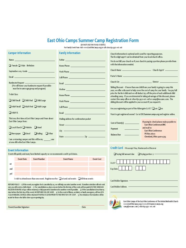 State Of Texas Application For Employment Summer Camp Registration Form 2 Free Templates In Pdf