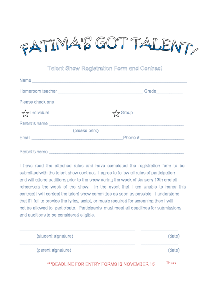 Sample Scholarship Application Form Art School Resources Talent Show Registration Form 2 Free Templates In Pdf