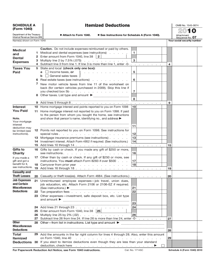 Irs Form Medical Expenses – Schedule a Itemized Deductions Worksheet
